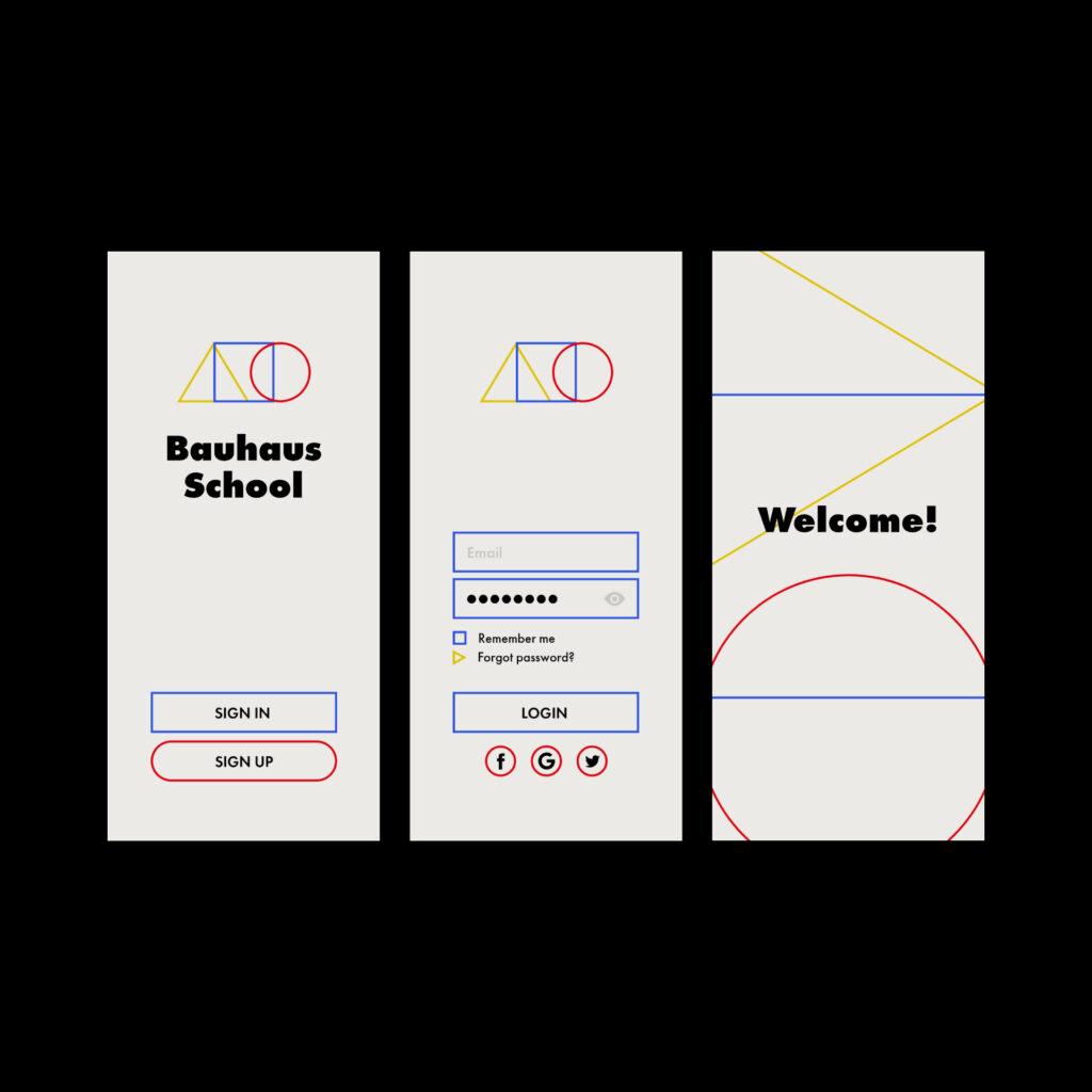 Bauhaus School concept app design