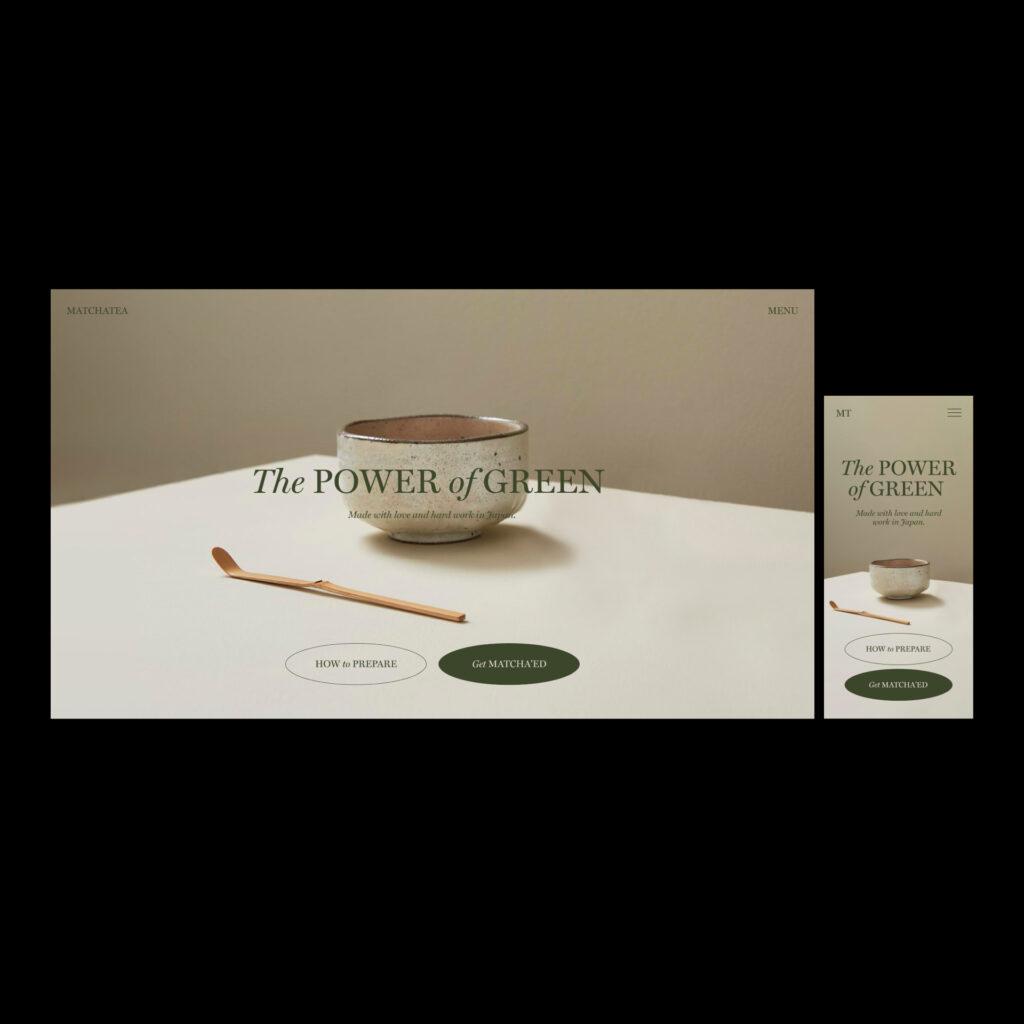 Matcha tea web design concept