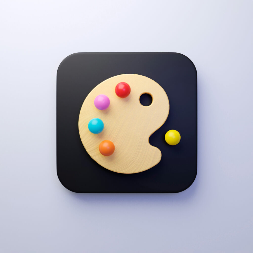 App icon concept mixing Pacman and creativity