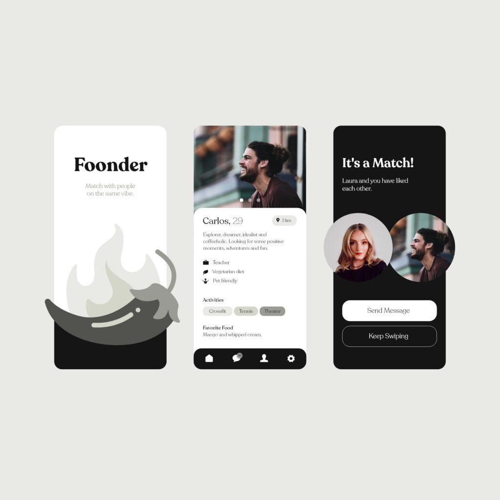 Realfooder tinder app design concept