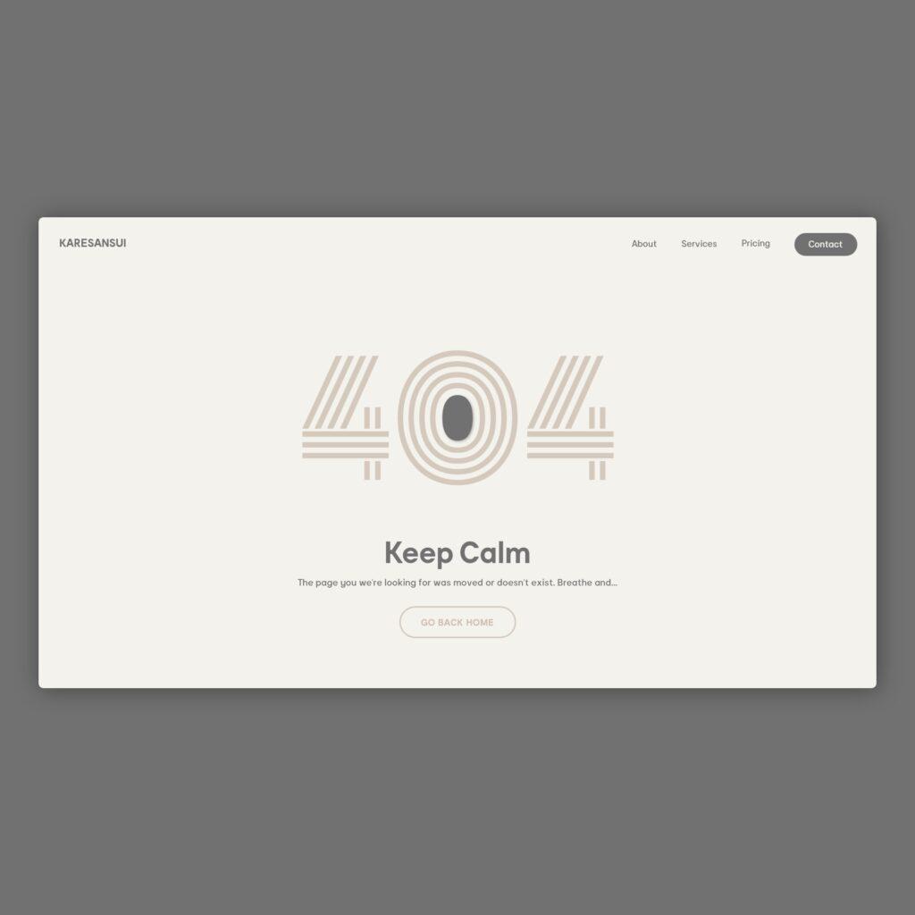 404 web design concept about zen and japan world