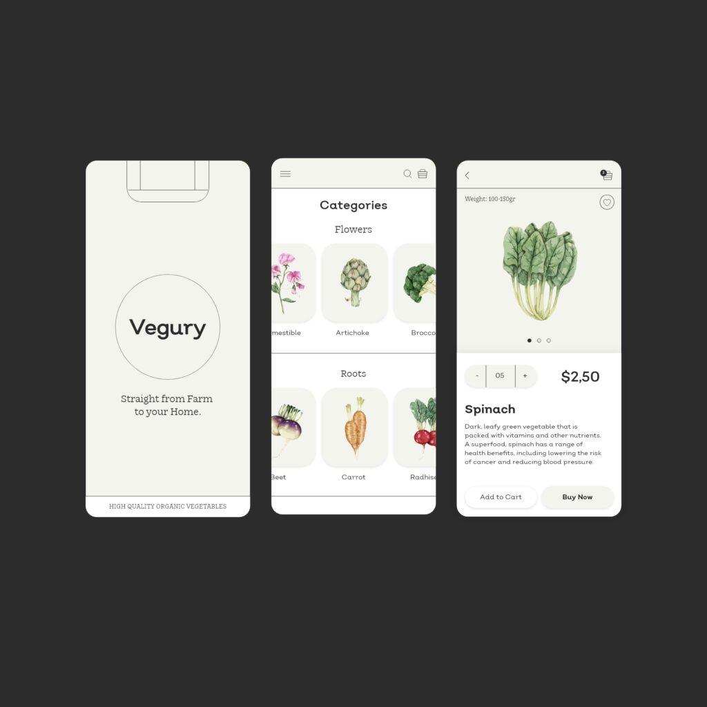 Vegetables ecommerce app design concept