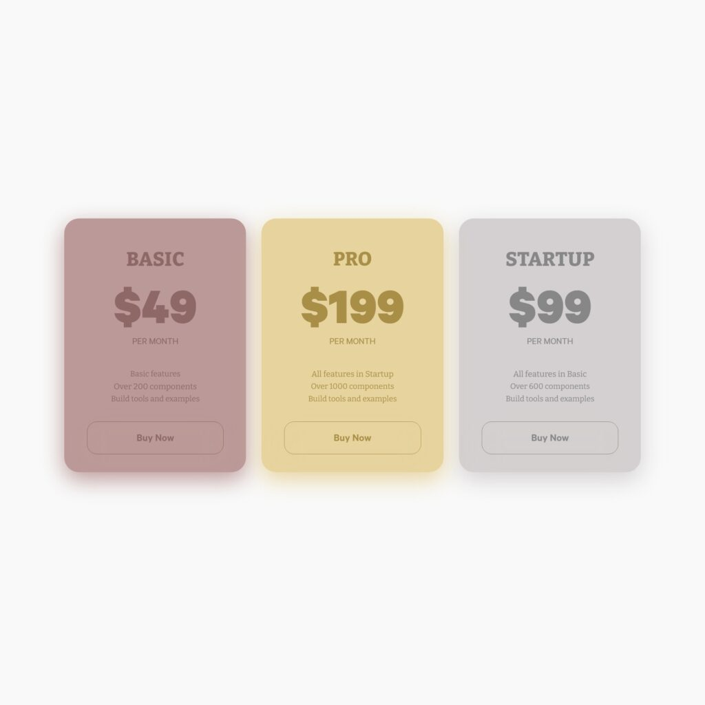 Pricing table design concept