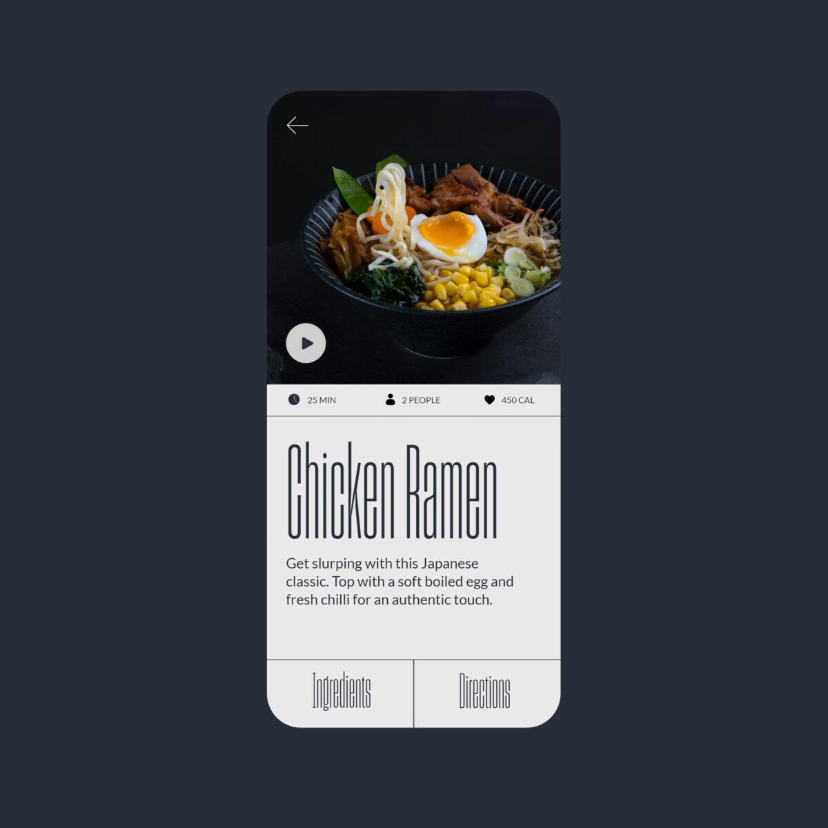 Ramen recipe app design concept
