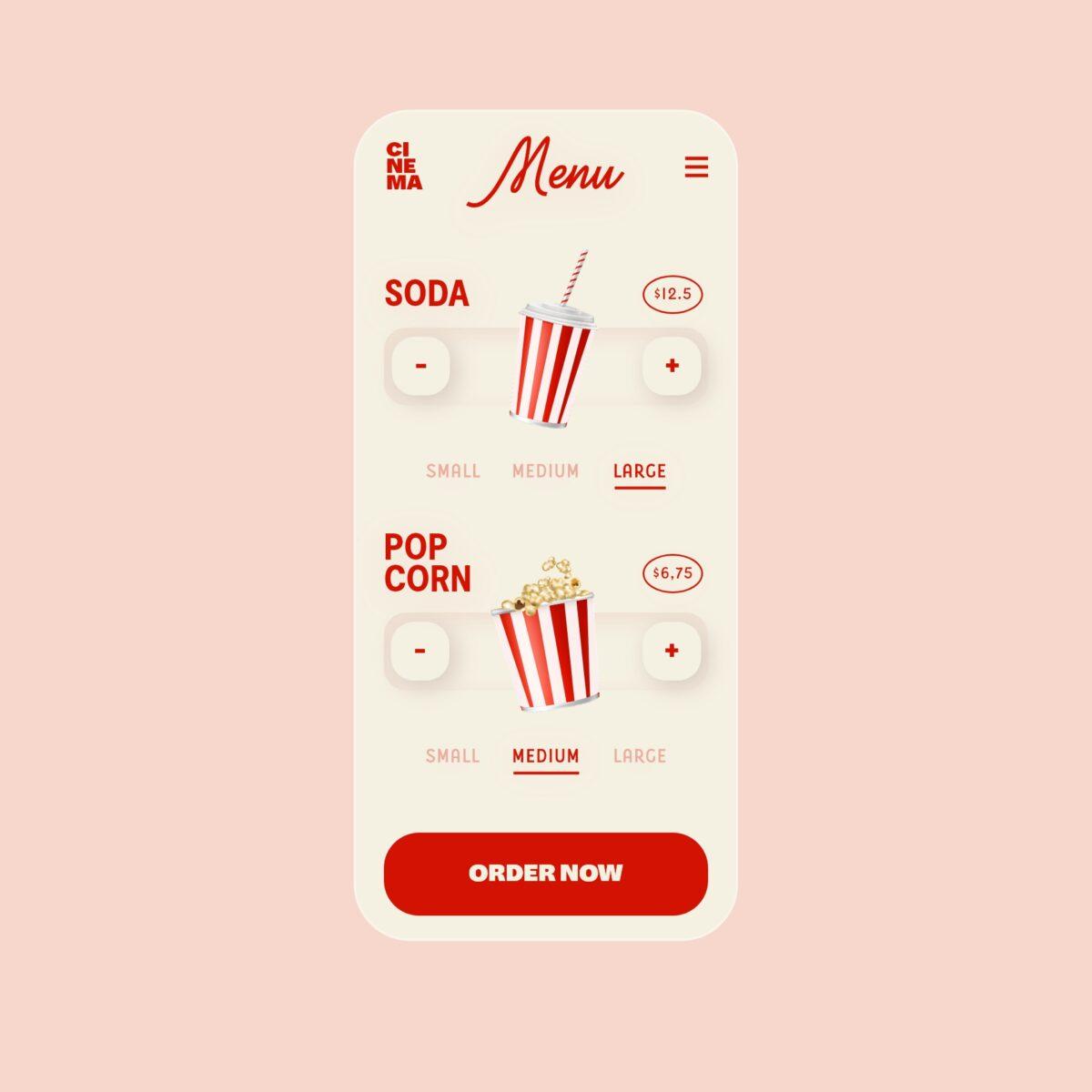 Cinema food and drink menu concept design